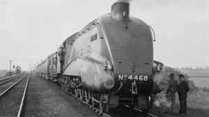 Mallard at Barkston prior to run 3 July 1938
