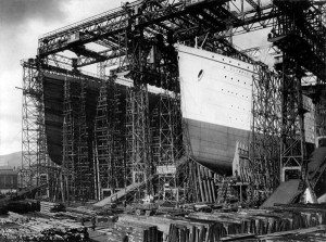 10 olympic titanic on slipway