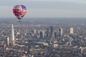 Adventure Balloons Union Jack Balloon flying over London.